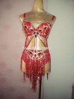 Wholesale Red Rhinestone Bra - Sexy Red Crystals Bikini Outfit Women Rhinestones Tassel Bra Short Costumes Stage Dance Party Birthday Celebrate Dance Wear