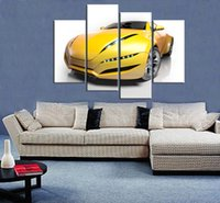 Wholesale hd car pictures - 4pcs set Unframed Morden Super Sport Car Yellow HD Print On Canvas Wall Art Picture For Home and Living Room Decor