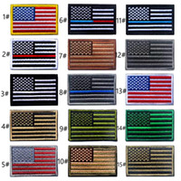 Wholesale Wholesale American Flag Hats - VIP Price US Flag Tactical Patches Gold Border American flag Iron on patches Applique Jeans Fabric Sticker Patches for Hat badges 034
