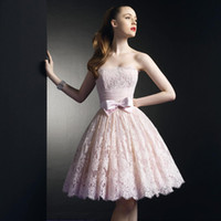 Wholesale jewel brush - Light Pink Lace Short Homecoming Dresses Strapless Pleated Tulle Cute Prom Dresses With Bow Brush Pink Short Party Dresses Ball Gown