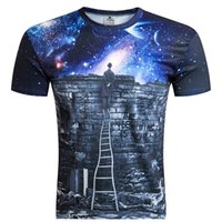 Wholesale T Boy Watches - 2017 New Europe and American Men boy T-shirt 3d fashion print A person watching meteor shower Space galaxy t shirt Factory Outlet