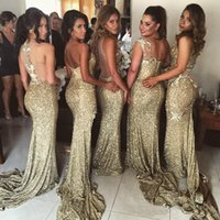 Wholesale Choice Chart - 2017 Gold Sequin Bridesmaid Dresses Mermaid 5 Styles For Choice Split Skirt Gold Maid of Honor Dress Custom Made For Evening Dress 2y