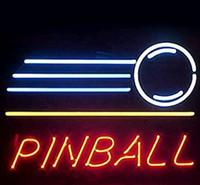 panneau de flipper néon achat en gros de-Nouveau PINBALL enseigne au néon tube de verre tube réel salle de club à la main dans la salle de jeu de mur