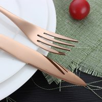 Wholesale hotel suits - Dinnerware Set 4pcs Stainless Steel Rose Gold Knife Fork Spoon Suit European Family Hotel High Grade Dishware 8 6yc J R