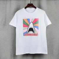 Wholesale Shirt 3d Shark - 2017 new high-end men's brand t-shirt fashion 3D shark printing 100%cotton t shirt short-sleeved t shirt men