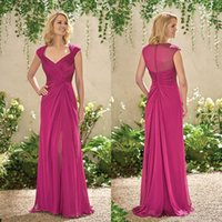 Wholesale mothers dresses for winter wedding resale online - 2018 Cheap Long Chiffon Mother Dresses Cap Sleeves Fuchsia Split Side Plus Size Evening Gowns For Wedding Guest