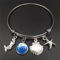 Wholesale Mermaid Clasp - Stainless Steel Expandable Wire Bangle Beach Sea Mermaid Charm Bracelet Diy Handmade Jewelry Gift For Girls And Women