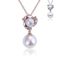 Wholesale Pearl Cluster Statement Necklace - Simulated Pearl Necklace Vintage Choker Bead Rhinestone Pendants Chain Statement Necklaces For Women Jewelry Gifts Flower Pattern Pendant