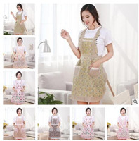 Wholesale Chefs Clothes - Women Aprons with Pocket Cooking Ruffle Chef Floral Kitchen Restaurant Princess Apron Polyester Kindergarten Clothes Bib with Pockets