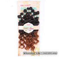brezilya dalgalı ombre saç uzantıları toptan satış-8 adetgrup Brezilyalı Gevşek Derin Dalga sentetik elyaf Saç Uzatma 14-20