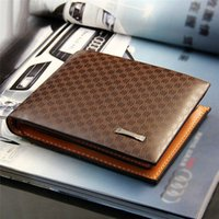 Atacado- Hot Sale Short Bifold Plaid Wallet Men's PU Leather Brown Credit ID Card Holder Slim Purse Business Gift