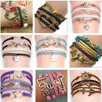 Wholesale Halloween Picks - Infinity bracelets Jewelry fashion Mixed Lots Infinity Charm Bracelets Silver lots Style pick for fashion people