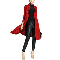 Wholesale Gold Hands Women s Spring Autumn Solid color Windbreaker Long Slim Lapel Neck Coat Fashion Clothing Ladies Trench Coats