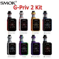 Wholesale Tc Box Mod Kits - Authentic SMOK G-Priv 2 Starter Kits G-PRIV2 Touch Screen 230W TC Box Mod with 2ml 4ml TFV8 X-Baby Tank kit 100% Genuine SmokTech