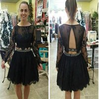 vestido largo de dos piezas al por mayor-Modest Two Pieces Short Homecoming Dresses 2017 Long Sleeves Open Back A Line Lace Modest Black Party Girl Vestidos de desfile a medida Barato