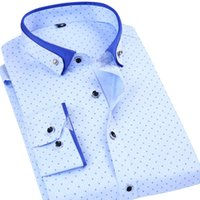 Männer Slim Fit Polka Dot Print Hemden Mode-Design Button-Down Kragen Herrenbekleidung Herren Social Formal Business Shirts