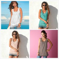 Crochet Top Womens Tank Top Shirts Tiered Lace Top Stickerei Paneled V Neck Racerback Vier Farben