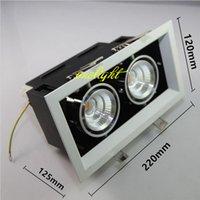 ingrosso doppio led downlights-8 pz / lotto Dimmable Double Heads 24W COB LED Downlights 2x12W LED Down Light Lampade da incasso a soffitto 110 V 220 V Shiping libero