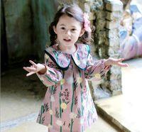 Wholesale Round Tutu - 2017 NEW Ins Euro Fashion Girl Lolita Dress big Triangle round collar long sleeve daisy dress 100% cotton girl dress elegant simple style