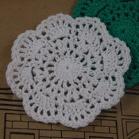 "Wholesale Round Handmade Tablecloth - Wholesale- 10PCS Handmade Crocheted Doilies 4"" 10cm Cup Mat Pad tablecloth coasters Round Wadding Home Decoration"