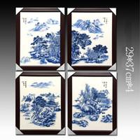 moderne lackierrahmen großhandel-Jingdezhen keramisches dekoratives Bild mit Art-Wandanstrichbild-Landschaftsanstrich vier des Rahmens modernen für einen Satz geben Verschiffen frei