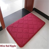 Wholesale Thick Elastic Fabric - Free Shipping wine red Ripple New fleece fabric Thick high elastic Carpet Bathmat Bathroom soft rugs comfortable anti slip water absorb