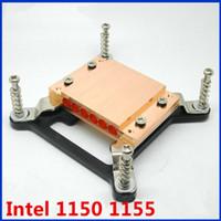 ingrosso micro ventola 12v-All'ingrosso- Per Intel 115X PC CPU heatpipe 6 fori morsettiera in rame blocco apparecchio 6mm diam tubo in rame Ventola raffreddamento radiatore silenzioso