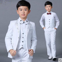 Wholesale Pinstripe Shirts - Boys Wedding Suits 2017 Size 2-14 White Boy Suit Formal Party Five Sets Bow Tie Pants Vest Shirt Kids Suits Free Shipping In Stock