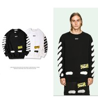Wholesale Super Man Sweater - Off White Sweater Mirror 2017 New Tag High Quality Hip Hop Men Streetwear Loose Design Long Sleeve Off White Striped Hoodies