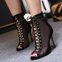 Pumps black bootie heels - 2017 meshy breathable lace up sheos sexy women high heels peep toe ankle bootie beige black size to