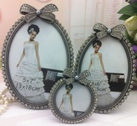 "Wholesale Diamond Photo Frame Wedding - bridal gifts wedding bow photo frame 3"" 6"" 7"" inlaid gray pearl diamond metal zinc alloy for wedding oval photo frame style 7089#"
