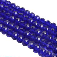 Wholesale 8mm Crystal Bicone - 500pcs lot fashion Blue rondelle faceted Crystal Glass loose Spacer Beads for Jewelry Making Bicone 8mm
