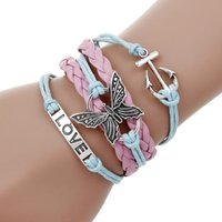 Wholesale Infinite Leather Bracelets - Wholesale Various Styles Leather Bracelet Double Infinite Multilayer Antique Charm LOVE Butterfly Anchor Charm Bracelets gift for Lover