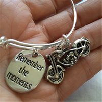 """Wholesale Silver Bangel - 12pcs Motorcycle-Bracelet with motorcycle and stamped """"remember the moments"""" bangel"""
