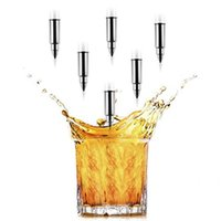 Wholesale Stainless Steel Ice Buckets - 6 PCS Stainless Steel Bullet Shape Whiskey Stones Ice Cubes Soapstone Glacier Cooler Stone Home Bar Accessories