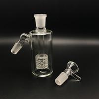 ingrosso pneumatico bongs-Collettori di cenere di vetro da 14 mm 18mm con ciotole di vetro 45 gradi Percussioni di beccuccio di cenere di Ashcatcher con raccoglitore di cenere per acqua vetro Bong Olio Dab Rigs
