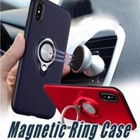 Wholesale Ring Backs - Hybrid Armor 360 Ring Holder Magnetic Back Cover Cases With Retail Package For iPhone X 8 7 6 6S Plus Samsung S7 edge S8 S9 Plus Note 8