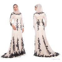 Wholesale Muslin Long Dress - 2016 Arabic Evening Dresses High Neck Beaded Chiffon Applique Long Sleeves Evening Dresses Dubai Muslin Moroccan Kaftan Women Evening Gown