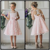Wholesale Old Girls Dresses - Fancy Pink Flower Girl Dress with Appliques Half Sleeves Knee Length A-Line Gown with Ribbon Bows For Christmas 0-12 Years Old