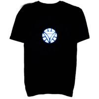 Wholesale Led Lighting Drapes - Flashing Led T Shirt For Men Light Up Down Music Party Iron Man LED T-Shirt Male Dancing Light T Shirt Free Shipping