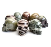 Wholesale Feng Shui Tree - 1.9 INCHES Natural Tumbled Tree Grain Stone Carved Crystal Reiki Healing Skull Statue with a Velvet Pouch