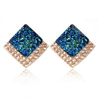 Wholesale Europe and the all match square block new simple Stud Earrings