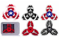 Wholesale Newest Spider Man Superman Captain America Fidget Hand Spinner Stress Spinner alloy Metal Ball Bearing For ADD ADHD Anxiety With Retail Box