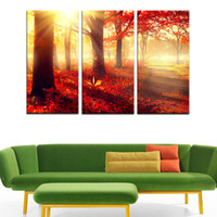 art room hd pictures 2018 - HD Canvas Prints 3 Pcs Red Trees Wall Art Picture Modern Home Decoration Painting For Living Room or Bedroom
