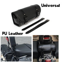 Wholesale Luggage Round - Universal Motorcycle Tool Bag PU Leather Luggage Handle Bar Round Barrel Storage Pouch