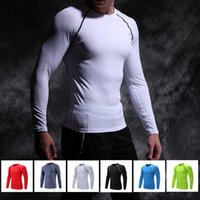 Wholesale Tight Gym Shirts Men - Quick Dry breathable Compression Shirt Long Sleeves Training tight tshirt Fitness Clothing Solid Bodybuild Gym Crossfit Base Layer Clothing