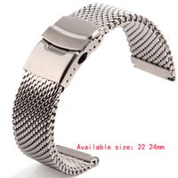 Wholesale 22mm Stainless Bracelet - Wholesale- Watchbands 22mm 24mm Silver Solid Stainless Steel Mesh Bracelet Watch Mesh Band Diving Clasp Replacement Band