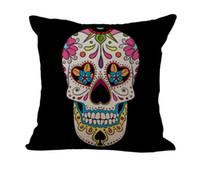 skull bedding оптовых-Пиратский сахарный череп Наволочка Чехлы наволочки льняные хлопковые наволочки диван-кровать автомобиль декоративные наволочки бесплатная доставка