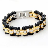Wholesale Charms For Bracelets Bike - 220*19mm Wide Gold Black Motorcycle Chain Bracelet For Men Vintage Bike Stainless Steel Charm Bracelets&Bangles Fashion Jewelry Accessories