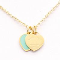 halskette für zwei lieben großhandel-Mode Zwei Liebe Blau Herz Anhänger Halsketten Silber Gold Edelstahl Halsketten Einfache Buchstaben herz liebe Anhänger Frauen Halskette